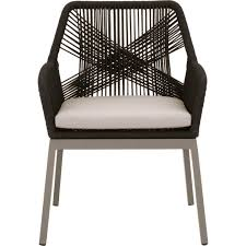 Loom Outdoor Dining Chair In Black Rope, Grey Fabric & Metal (Set Of 2) By  Orient Express Furniture Comfortcare 5piece Metal Outdoor Ding Set With 52 Round Table T81 Chair Provence Hampton Bay Mix And Match Stack Patio 49 Amazoncom Christopher Knight Home Lala Grey 7 Chairs Of 4 Tivoli Tub Black Merilyn Rope Steel Indoor Beige Washington Coal Click Pc Stainless Steel Teak Modern Rialto Rectangle 6