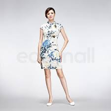 bird and floral painting casual qipao short white silk chinese