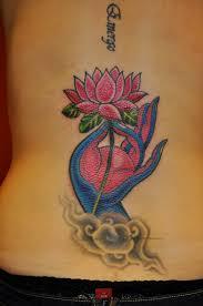 Wonderful Lotus Flower Back Tattoos For Sexy Girl