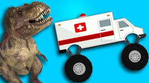 100 Dinosaur Monster Truck Ambulance S VS CRAZY DINOSAUR YouTube
