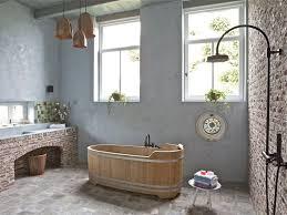badezimmer einrichten klinker wand design putz badewanne