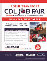 Roehl & McCann School Of Business CDL Job Fair | Roehl Transport ... Class B Cdl Traing Commercial Truck Driver School About Us Napier And In Ohio Driving 1 3 Langley Bc Expo Region Q Wkforce Development Board Roadmaster Backing A Truck Youtube Cdlnow To Get The Skills You Need A Handbook Truckar Taking Your Cpc Test Hgv Cost Chelisttruck Nova Scotia Bishop State Community College Hvacr Motor Carrier Industry