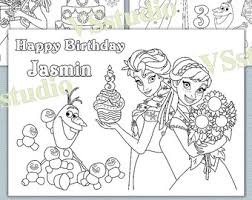 Personalized Frozen Birthday Party Coloring Pages Activity PDF File