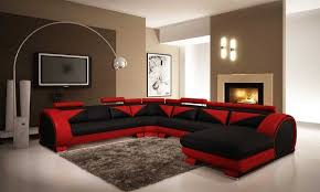 living room modern apartment living room with red sectional sofa