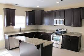 White Countertop Added Two Tone Floating Black Wooden Cabinet Stove Also Fridge Placed L Shaped Kitchen