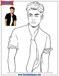 Justin Bieber In Shirt Posing Coloring Page