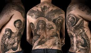 Grey Ink Angels Back Tattoo