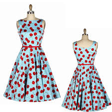 FREE SHIPPING Fashion 50s Hepburn Vintage Slash Neck Blue Bottom Red Cherry Slim High Quality Dress Womens Clothing In Dresses From