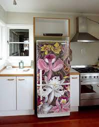 Kitchen Fridge Decorated With Vinyl Sticker