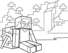 Steve Resting With Pickaxe PDF Printable Coloring Page