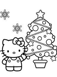 Hello Kitty Coloring Pages Christmas Tree Printable
