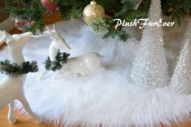 White Mongolian Faux Fur Tree Skirt In Picture Assort Colors Sizes Custom Made USA Handmade Christmas Xmas Holiday Home Decors