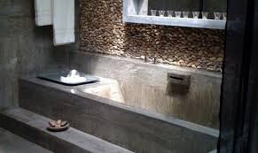 moderne badezimmer im vintage style mit estrich boden und