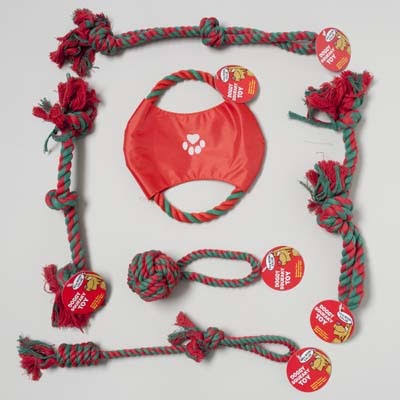 Case of [72] Christmas Dog Toy Rope Chews - Assorted