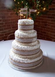 Rustic Wedding Cake With Non Smooth Icing And Burlap Band