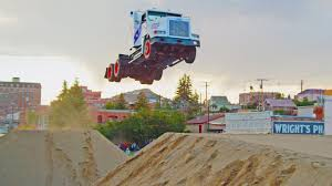 100 Truck Jump 166ft Ing Stunt Family Break Two World Records YouTube