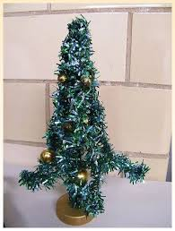 Mid Century Green Foil Christmas Tree 8Decorated With Gold Glass