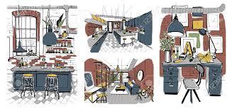 100 Loft Ensemble Chambres Modernes Intrieurs Dans Le Style Loft De Dessin La Main Illustration Colore