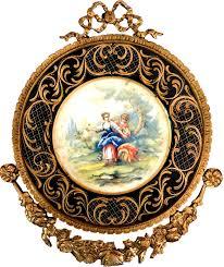 casa padrino barock keramik wandbild mit verziertem rahmen 38 x 32 cm barock wanddeko wandteller antik stil