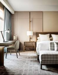 a modern hotel interior with a simple bedroom design that