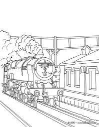 Old Steam Train Getting In The Station Coloring Page