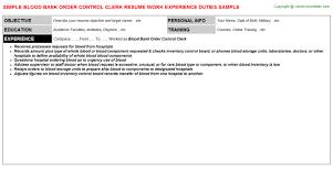 BLOOD BANK ORDER CONTROL CLERK RESUME SAMPLE