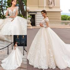 2017 Newest Long Sleeves Ball Gowns Wedding Dresses Modest Sheer