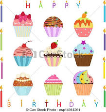 Cupcake With Happy Birthday Candles Vector