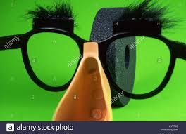Spectacles And Fake Nose Disguise Looking At Grindstone