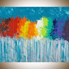 rainbow flowers by qiqigallery 30 x24 original modern abstract