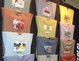 T Shirt Display With Chain And Wooden Rods
