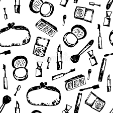 Download Doodle Cosmetic Black And White Pattern Fashion Background With Makeup Items Stock Illustration