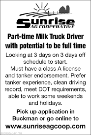Part-time Milk Truck Driver With Potential To Be Full Time, Sunrise ... I29 In Iowa With Rick Pt 15 Truck Drivers Wanted Schurman Farms And Grain Sauk Centre Mn Minneapolis Driving Jobs 6122000585 Crete Carrier Entrylevel No Experience Hiring Rosemount Mn Driver Recruiter Delivery Skills For Resume Fresh Personal Job Description Fearsome Thursday March 23 Mats Parking Cattle Pots Inexperienced Roehljobs Class A Cdl Local Excellent Benefits Multiple