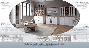 wohnzimmer einrichtung wohnzimmer komplett set a segnas 8 teilig farbe kiefer weiß eiche braun