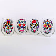 Easy Sugar Skull Day Of by Sugar Skull Stemless Wine Glasses Hand Painted Glass Sugar