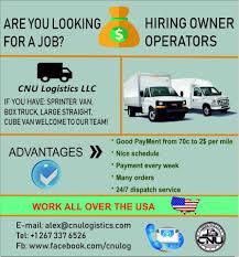 100 Box Truck Owner Operator Jobs WORK CNU Logistics CNU Logistics LLC Facebook