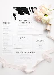 Simple And Modern Wedding Invitations In Black White With A Marble Envelope Liner