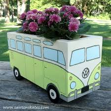 Flower Power Painted Wood Bus Planter Container Gardening Crafts How To