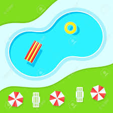 Swimming Pool Landscape Top View Inflatable Ring And Mattress For Sun Umbrellas