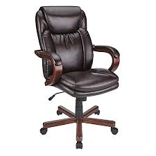 realspace carlin bonded leather high back chair brown by office