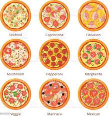 klassische italienische küche pizza draufsicht im cartoonstil vektorillustrationen isoliert auf weiss stock vektor und mehr bilder