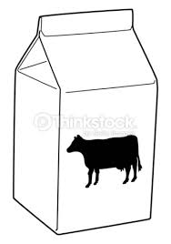 Black and white digital illustration of cow on front of milk carton Stock Illustration