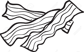Vector illustration of fried bacon doodle in black and white Stock Vector