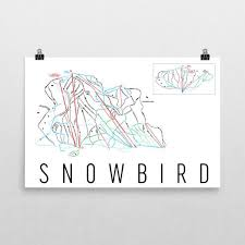 Snowbird Ski Map Art Utah Trail