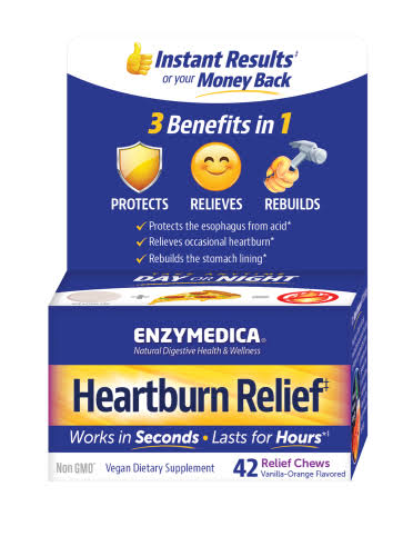 Enzymedica Heartburn Relief, Vanilla-Orange Flavored, Relief Chews - 42 relief chews