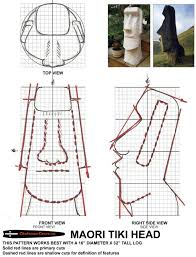 chainsaw carving patterns free easter island tiki head