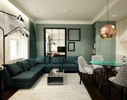 elegantes wohnzimmer in der wandfarbe petrolgrün