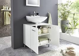 bmg möbel waschbeckenschrank unterschrank badschrank badezimmer schrank waschbeckenunterschrank in hochglanz weiß softclose einlegeboden höhe 61 cm