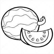 Watermelon Cartoon Ilration Isolated White Stock Vector