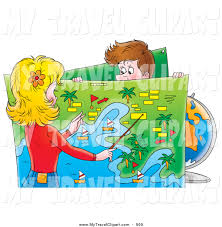 Clipart Of A Caucasian Man Holding Up Map While His Travel Agent Or Wife Plans